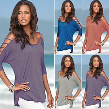Womens Summer Casual Loose Off Shoulder Blouse Ladies T-shirts Tops Size UK 6-14
