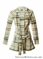 Ladies Jess Hooded Long Coat, White Black Blue Check, All Sizes