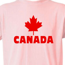 """CANADA"" PINK T-Shirt Canadian Pride MAPLE LEAF FLAG TEE"