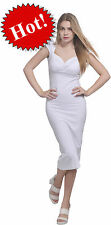WHITE WOMENS VINTAGE BODYCON SLIM FIT SWEETHEART NECK CAP SLEEVE MIDI DRESSES