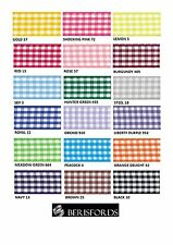 BERISFORDS GINGHAM CHECK RIBBON 10MM WIDE 18 COLOURS - CUT METRES OR FULL ROLL