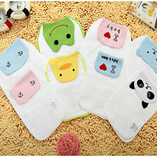 Cartoon Baby Face Cotton Kid Sweat Absorbent Towel Back Perspiration Wipes Cloth