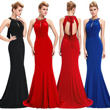 Backless Women Long Halter Bridesmaid Evening Formal Party Ball Gown Prom Dress