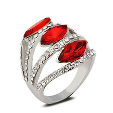 18K White Gold Plated Red Crystals Women Ring Elegant Jewelry CZ Rhinestone