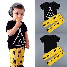 Toddler Kids Baby Boys Outfits Clothes Short Sleeve T-shirt Tops+Pants 2PCS Sets