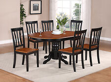 7 Piece Dining Room Table Set-Oval Table with Leaf and 6 Solid Dining Chairs