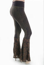 T Party BROWN Lace Block Bottom Fold Over Lounge Stretch Yoga Pants NWT