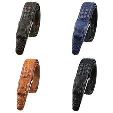 Genuine Leather Crocodile Grain Casual Dress Plaque Buckle Adjust Waistband Belt