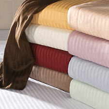 "New 800-TC 100% Cotton Stripe Sheets 30"" Deep Pocket 4-PC OR 6-PC Sheet Set"