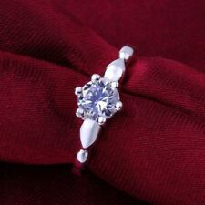 SILVER PLATED SOLITARE ZIRCON RING ENGAGEMENT FOR HER PROMISE 7 8