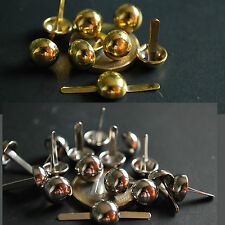 50x 10mm 8mm Silver Gold / Brass Tone Round Dome pin STUDS Leather Denim Craft