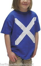 Kids Boys Scotland Saltire Royal Blue T-Shirt Top Great Quality And Feel Casual
