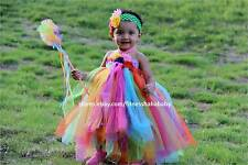 Rainbow Tutu Dress Matching Headband weddings party birthday special baby-kids