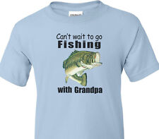 "BASS FISHING Kids Blue Tee ""CAN'T WAIT TO GO FISHING WITH GRANDPA"" Kids T-Shirt"