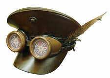 Steampunk SDL leather look brown military hat with goggles and feather