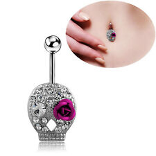 NEW Crystal Rhinestone Belly Button Ring Navel Bar Body Piercing Jewelry
