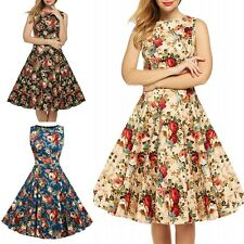 Lady Vintage Pinup Rockabilly Swing Floral Print Hepburn Style Sleeveless Dress