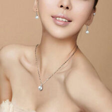 Elegant Charm White&BLACK Pearl Pendant Necklace Silver Chain Jewelry Gift