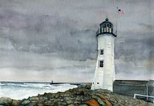 Scituate Lighthouse South Shore Massachusetts Watercolor Notecards