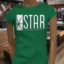 The Flash DC Barry Allen Laboratories Star Labs Womens Green T-Shirt