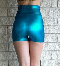 Turquoise Metallic High Waisted Hot Shorts Shiny Pinup 50's Inspired Lame