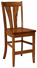 """Set (3) Amish Mansfield 24"""" Stationary Counter Height Bar Stools Solid Wood"""