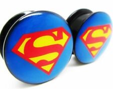 superman Screw-on Stash Box Plugs / Gauges Acrylic (2 Pieces)