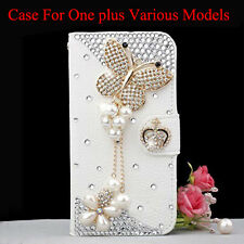 Bling Diamonds Pearls Butterfly PU Card Wallet Case Stand Cover For OnePlus 5