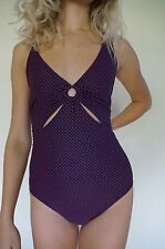 DKNY swimsuit Maillot one-piece 14 L Navy Blue Red Polka Dot