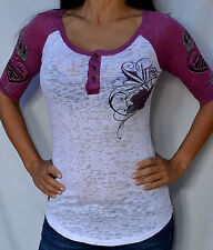 Sinful by Affliction SAGE Woman's Raglan Henley Burnout - S2155 - White / Pink