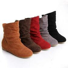 Women Ladies Faux Suede Pull On Flat Slouch Ankle Boots Shoes Casual Plus Size