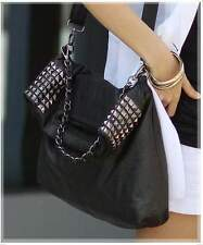 Women's Faux Leather Rivet Chain Foldable Shoulder Handbag Cross body Bag NEW