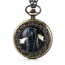 New Carving Skull Flame Death Quartz Pocket Watches With Necklace FOB Mens Gift