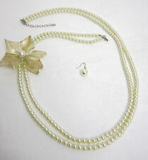 Flower Pearl Necklace & Earring Set. Multi Strand Long Pearls Bead-NEW
