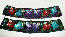 Floral Multicolor Sequined Beaded Embroidery Waist Hip Belts Handmade Sash India