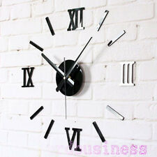 DIY Wall Clock 3D Roman Numbers Stickers Watch Silent Clocks Home Deocor