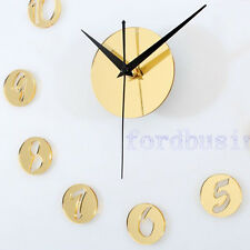 Creative 3D DIY Wall Clock Mirror Numbers Sticker Home Decor Watches Silver Gold