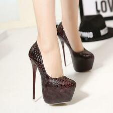 Womens Sexy Lady 16cm Stiletto Super High Heels Snakeskin Platform Party Shoes
