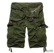Men's loose outdoor overalls shorts work hiking straight leg cargo pockets pants