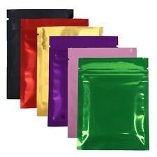 500pcs Black Gold Pink Silver Green Red Purple Foil Flat Zip Lock Bag 3x4in C381