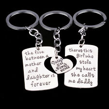 Daddy Mother Girl Gift Heart Love Family Keyring Keychain Key Chain Ring Mom NEW