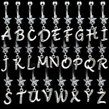 One 316L Surgical Steel CZ Star Initial Letter Dangle Belly Button Navel Ring