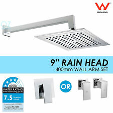 "WELS 9"" Sqaure Rainfall Shower Head Rose Brass Cubic Wall Shower Arm & Mixer/Tap"