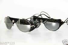 Mirror Lenses Aviator Leather Sunglasses In Silver and Black Frame !!! #175
