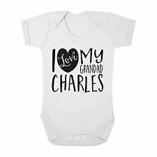 Personalised with ANY NAME I Love my Grandad Cute Boy & Girl Baby Vest Bodysuit