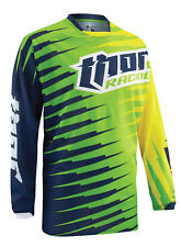 Thor Lime Green/Navy Blue/Yellow Phase Vented Rift Dirt Bike Mens & Youth Jersey