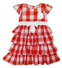 GIRLS PRETTY GINGHAM RED & WHITE FRILL SUMMER DRESS BY LADYBIRD - NEW WITH TAGS