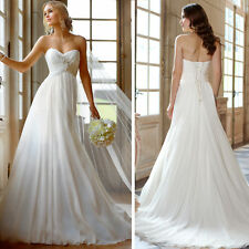 Simple Design Sweetheart Bridal A-line Beading Wedding Dress Size 8 10 12 14 16