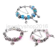 European Charm Bracelet Crystal Silver Chain Beads Bangle Fashion Jewelry Gift