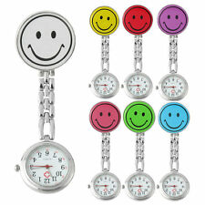 Smile Face Nurse Fob Watch Clip Watch Medical Use Pocket Quartz Clasp Watch FG